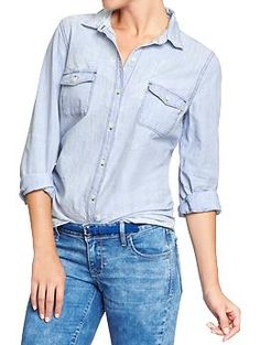Women's Classic Chambray Shirts | Old Navy. Great staple, and 15% off on the website now.