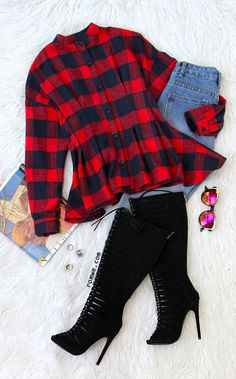 Check Plaid Stand Collar Peplum Top With Belt with blue denim and black long boots from romwe.com