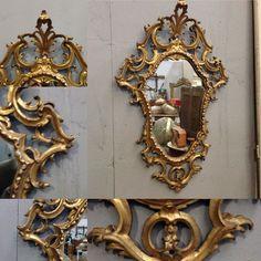 miroir baroque italien en bois sculptée doré à l'or fin XX siècle