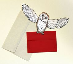 Howler Owl Post Card Barn Owl Articulated Paper Doll