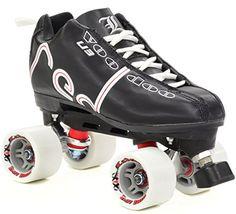 Speed Roller Skates - Labeda Voodoo U3 Midnight Black Quad Roller Derby Skates -- Click image for more details.