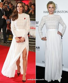 Kate Midleton e Paris Hilton repetiram o vestido branco Oscar De La Renta | http://modaefeminices.com.br/2016/11/04/kate-midleton-e-paris-hilton-repetiram-o-vestido-branco-oscar-de-la-renta/