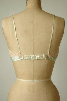 Vintage Silk Bra 1930s Pale Green Lingerie by DalenaVintage