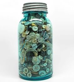 Vintage Blue Mason Quart Jar Filled with old sewing buttons