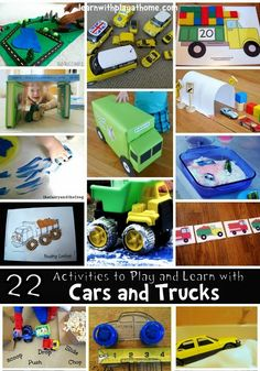 Learn with Play at home: 22 Activities to play and learn with Cars and Trucks