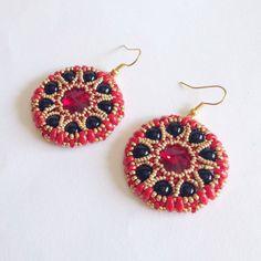 Red gold and black Sari earrings with Swarovski by La pietra blu di Avalon