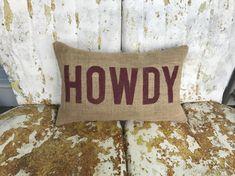 Texas A&M Aggies HOWDY Aggie Pillow Collegiate Decor Burlap Decorative Throw Pillow Custom Color Available Gift Home Decor
