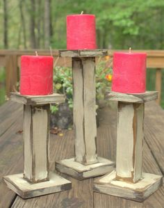 Primitive Distressed wooden candle holders set by Maryswoodcrafts, $25.00