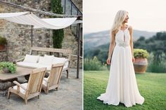 Love the natural colored material....even on the bride! :: Lindsay & Ryan's Tuscany wedding pictures by Jose Villa