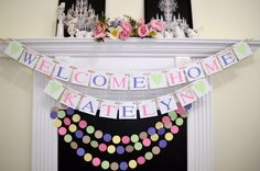 Use paper garlands to make lovely Welcome Home flag banners! These paper garlands are great & Hanging tissue paper pom pom in blue that you can use to decorate ...