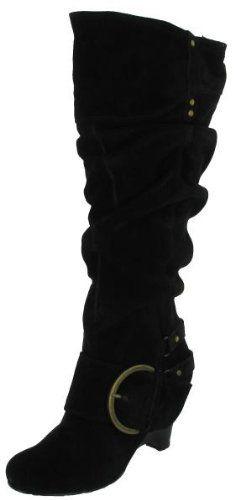 NAUGHTY MONKEY Juggernaut Womens Buckle Knee High Wedge Heel Suede Boots