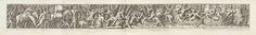 Pietro Santi Bartoli | Bevoorraden van schepen, Pietro Santi Bartoli, Maturino da Firenze, Giovanni Giacomo Rossi, 1645 - 1700 | Een processie van mensen met goederen, dieren en kinderen lopend naar rechts. Rechts schepen met soldaten en bevoorrading. Fries van drie aan elkaar geplakte prenten.