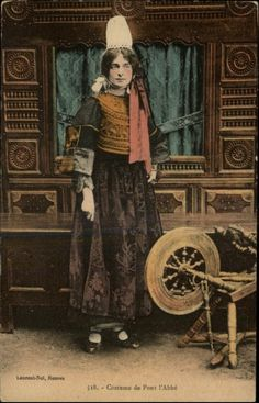 Pont l'Abbe Spinning Wheel c1910 Postcard