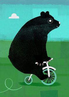 Bear on bike.  See!