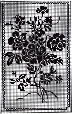 Kira crochet: Crocheted scheme no. 472 Kira crochet: Crocheted scheme no. Cross Stitch Rose, Cross Stitch Flowers, Cross Stitch Embroidery, Crochet Curtains, Crochet Tablecloth, Crochet Patterns Filet, Crochet Stitches, Crochet Dollies, Crochet Flowers
