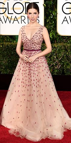 The Night's Most Stunning Dresses | ANNA KENDRICK | She plays Cinderella in Into the Woods, so you can't blame her for extending her princess moment just a little longer in this blush tulle Monique Lhuiller gown with ruby beading, plus actual rubies courtesy of Fred Leighton.