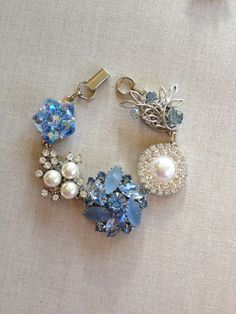 Something Blue Vintage Earring Bracelet by ChicMaddiesBoutique