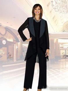 Fall Mother Of The Bride Pant Suits Special Occasion Gowns Chiffon Black Cheap M Mother Of The Bride Plus Size, Mother Of The Bride Suits, Mother Of Groom Dresses, Bride Groom Dress, Mothers Dresses, Bride Dresses, Mother Bride, Wedding Pantsuit, Wedding Suits