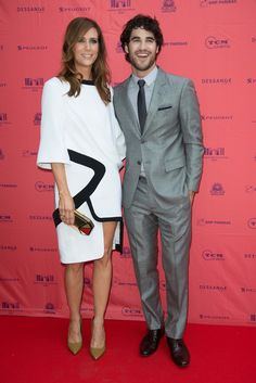 """Kristen Wiig and Darren Criss posed together at the """"Girl Most Likely"""" premiere at the 2013 Champs Elysees Film Festival at Publicis Champs Elysees in Paris, France on June 18. Love her outfit"""