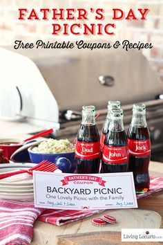 Fathers Day Picnic Ideas. BBQ Coca-Cola Chicken Wings Recipe, Coke Float Ice Cream Popsicles & Free Printable Coupons. Share a Coke! #ShareaCokeSweepstakes #shareacoke