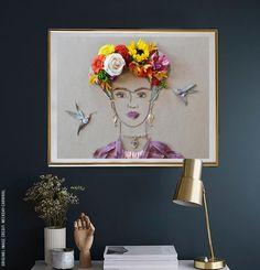 """Frida In The Garden II"" Flower Face Print - Frida, unique art, flower art, bohemian decor, art prints"
