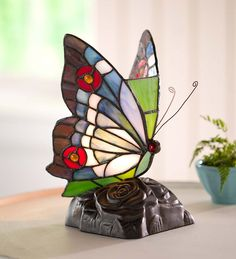 Tiffany-Style Stained Glass Butterfly Accent Lamp.