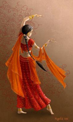 Hindi Time by Gudulett-e on DeviantArt Indian Women Painting, Indian Art Paintings, Krishna Painting, Krishna Art, Art Sketches, Art Drawings, Indian Illustration, Dance Paintings, India Art