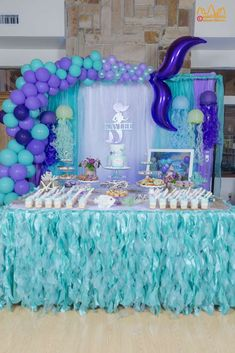 This Mermaid, Under-the-Sea Birthday Party will blow your mind! The dessert tabl… This Mermaid, Under-the-Sea Birthday Party will blow your Mermaid Birthday Cakes, Little Mermaid Birthday, Little Mermaid Parties, Mermaid Birthday Parties, Mermaid Themed Party, Baby Birthday, Birthday Ideas, Mermaid Party Decorations, Birthday Party Decorations