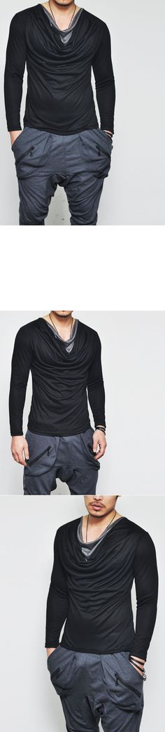 Avant-garde Layered Shirring Silket Cowl-Tee 137