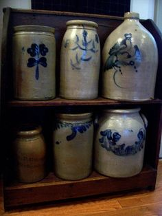 looooooooove collecting and displaying the old fabulous crocks (1800s equivalent to 'tupperware' of their era).....