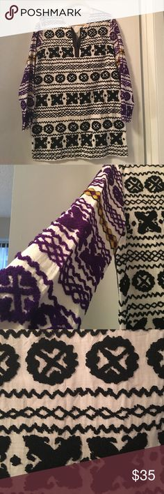 Antik Batik Mini Purple and Black Dress Sz: 40 I'm doing a major closet clean out!   DETAILS - This is such a cute mini dress. While it's long sleeve it's really light and I usually wear it on a summer night. The stitching is beautiful and it's such a pretty dress on.   MATERIALS - See photo.   WEAR - Almost perfect condition. Only worn a few times.   **My items are priced to sell. These photos DO NOT have a filter, they are original!** Antik Batik Dresses Mini