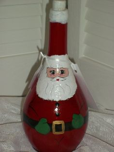 Santa Claus Hand Painted Bottle by handcraftsbyteresa on Etsy, $20.00