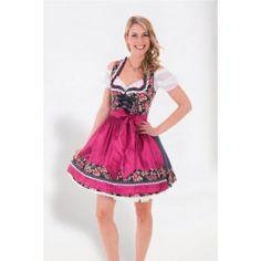 Dirndl Tiroler jurk met bloemenmotief. Rits sluiting aan de voorkant en afneembaar schort.