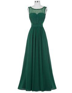 Green High Neck Sweetheart Illusion Beaded Long A-Line Chiffon Prom Dress Featuring Open Back - Formal Dress, Evening Dress