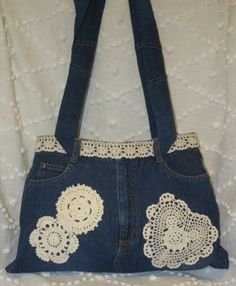 Ploomer Blue Denim Jean Bag Crocheted Doilies Handbag Purse