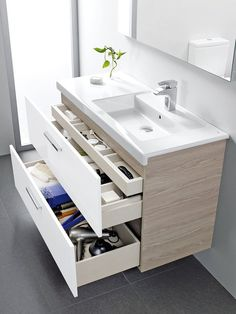 Modern small bathroom vanity with storage drawers vanity bathroomvanity vanityideas bathroom bathroomideas storage organization decorhomeideas. 16 Awesome Vanity Ideas For Small Bathrooms, Modern Small Bathrooms, Small Bathroom Vanities, Bathroom Storage, Master Bathroom, Bathroom Ideas, Bathroom Vanity With Drawers, Dream Bathrooms, Bathroom Designs, Bathroom Faucets