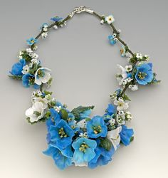 Necklace | Barbara Caraway.  'Himalayan Blue Poppies' Lampwork/glass