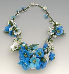 Necklace | Barbara Caraway.  'Himalayan Blue Poppies' Lampwork/glass