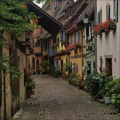 Lovely alley of Alsace village, France Images Alsace, Places To Travel, Places To See, Places Around The World, Around The Worlds, Ville France, Voyage Europe, France Photos, France Travel