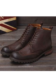 Brogue Lace Up Martin Boots Mens Ankle Boots, Mens Shoes Boots, Lace Up Boots, Men's Shoes, Shoe Boots, Brown Chukka Boots, Combat Boots, Mens Suit Colors, Big Men Fashion