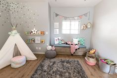 There are lots of playroom ideas you could have for your kids' playroom. When it regards playroom seating, the chances are endless. It is simpler to maintain a playroom organized that is broken up into play areas, or sections. Gray Playroom, Modern Playroom, Playroom Design, Playroom Decor, Indoor Playroom, Nursery Design, Girl Nursery, Girls Bedroom, Nursery Room