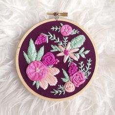 Happy Monday! I have a lot on my list today - one item is following my baby cruiser around because this baby is fast 😬 and another is adding this new hoop to the shop!  It's ready to ship so if you're looking for a Mother's Day gift (or just something awesome) 😝 let me know!  #makersmovement #handmade #handstitched #embroidery #hoopitup #flowers #bouquet #pink #magenta #roses #tulips #etsy #etsyshop #etsyseller