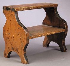 American Pine Step Stool, 19th c., mortised and dovetailed with scalloped arched sides, height 11 1/2 in., width 13 1/2 in., depth 7 1/2 in.