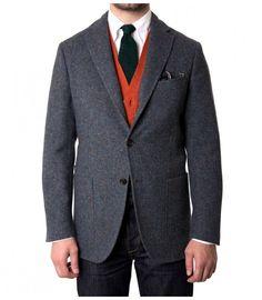 Single-Breasted Blue Donegal Wool Jacket Luxury Ties ba568aee8604
