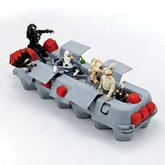 "Make a ""transporter"" for small action figures (something all Star Wars fans would love), which looks really cool from an egg carton. Craft Projects For Kids, Easter Crafts For Kids, Craft Activities For Kids, Diy For Kids, Fun Crafts, Craft Ideas, Star Wars Crafts, Egg Carton Crafts, Diy Upcycling"