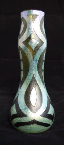 Exceedingly rare ' Acid Cut Back ' Loetz Vase attributed to Koloman Moser. Circa 1902