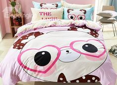 Cheap bedding sets, Buy Quality duvet cover set directly from China bedding set Suppliers: Home Textile Cartoon Bedding Set Cotton Lovely Glass Bear Bed Linen Duvet Cover Set Bed Sheet Pillowcase for Queen Size Girls Duvet Covers, Girls Bedding Sets, Bed Covers, Duvet Cover Sets, Beige Bed Linen, Bed Linen Sets, Cute Bedding, Linen Bedding, Bed Linens