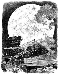 """talesfromweirdland: """" A trip to the moon, as envisioned in Illustration by French artist, Albert Robida from Le vingtième siècle. """" Short biography of Albert Robida here on Encyclopædia Britannica Albert Robida, Scrapbook Blog, Boston Public Library, Drawing Studies, Retro Futuristic, French Artists, Paris, More Pictures, Stars And Moon"""