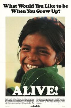 Sometimes we need a little reality check this: UNICEF poster circa 1985 does that!