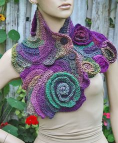 Crochet Scarf Freeform Crochet Flower scarf Capelet by Degra2